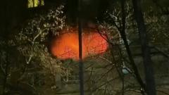 Мощный пожар на севере Москвы сняли на видео: один погибший