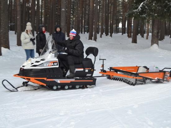 Для лыжников в Иванове запрягли снегоход
