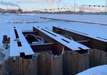 Возведение временной эстакады на подъезде к станции Лахта требуется для работы тяжелой техники при устройстве пролетов постоянного моста