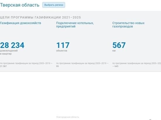 Жители Тверской области могут увидеть на карте, когда к ним «придет» газ