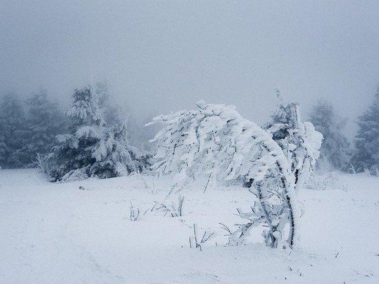 Сильный шторм и снегопад прошли в Кемеровской области