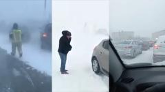 Челябинск накрыла снежная буря: кадры парализованного города