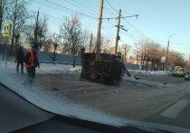 В Иванове опрокинулся грузовик, в момент аварии водитель был пьян