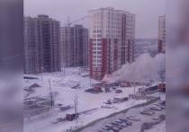Кемеровскую стройку снова накрыло дымом полыхающего вагончика