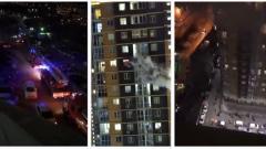 Сильный пожар в высотке Владивостока попал на видео
