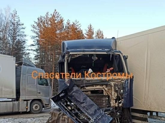 В Макарьевском районе Костромской области столкнулись сразу три грузовика