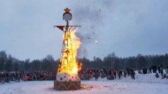 В Горках сожгли самое большое чучело Масленицы: видео