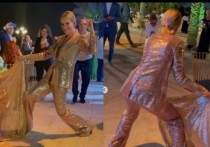 Наряд Собчак в Дубае совпал по фактуре со скатертью