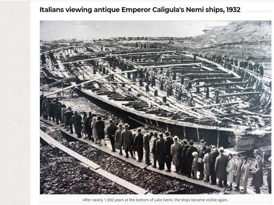 Археолог Вервир показала фото осушенных Муссолини озер для извлечения кораблей Калигулы