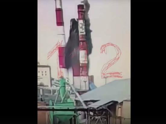 В сети появилось видео обрушения трубы на ТЭЦ-2