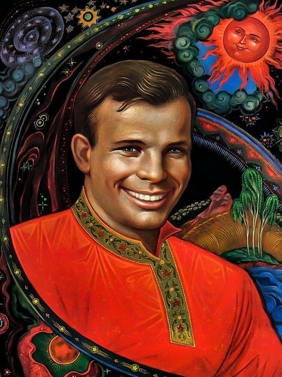 В Палехе можно увидеть лаковые миниатюры с портретом Гагарина