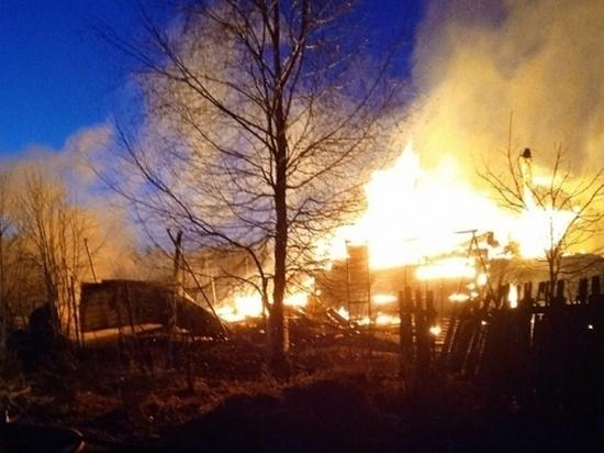Два дома и баня сгорели у семьи из Вельского района
