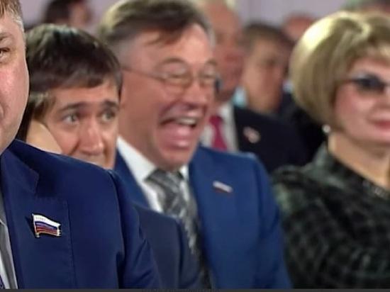 Депутат Госдумы Александр Терентьев не сдержал смех во время оглашения Послания президента России Федеральному собранию