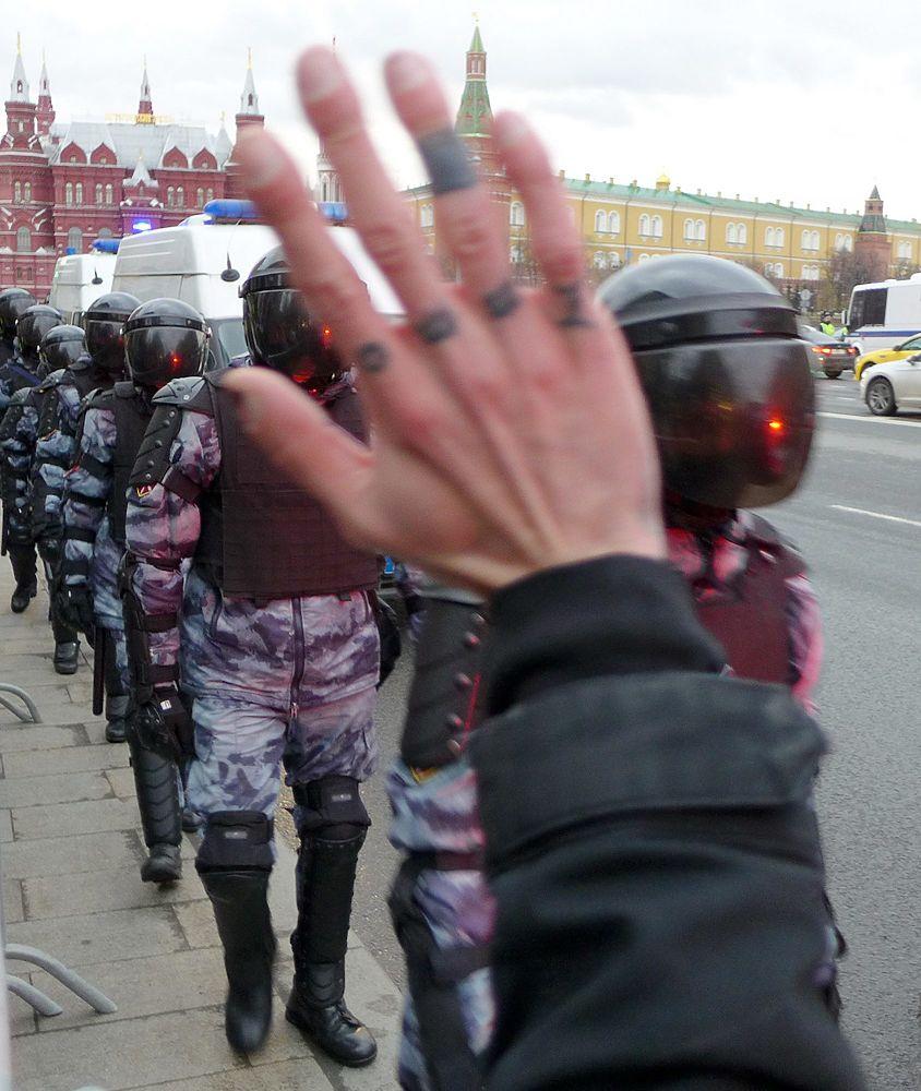 Люди, флаги, ОМОН: кадры акции за Навального в Москве