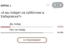 «А вы пойдет на субботник в Хабаровске?»: итоги опроса