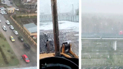 Москвичи удивились выпавшему в конце апреля снегу: видео