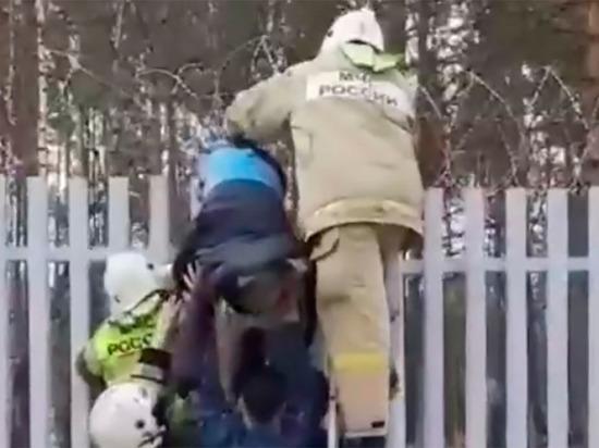 Мужчина четыре часа провисел на заборе при попытке обойти КПП в Железногорске