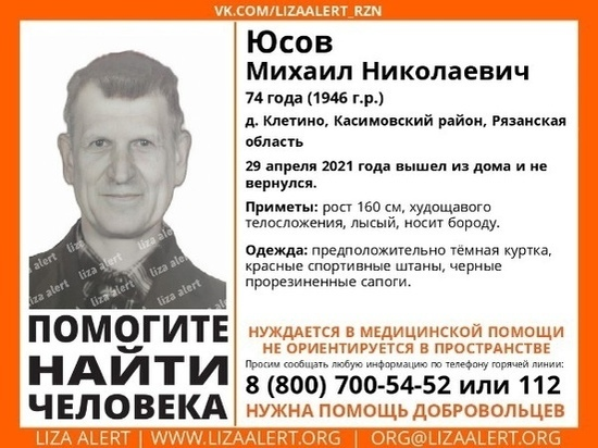 В деревне Клетино Рязанской области пропал 74-летний мужчина