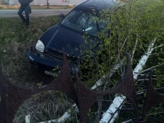 В Рязанском районе автомобиль улетел в кювет