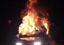 Kia Rio вспыхнул в Смоленской области ночью 3 мая