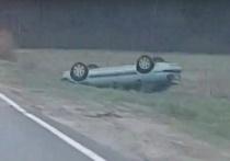 Под Брянском перевернулся легковой автомобиль