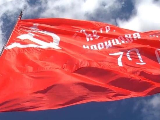 Сильный ветер повредил Знамя Победы на метеовышке в Обнинске