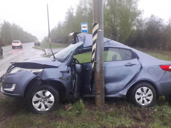 В Моршанском районе водитель врезался в столб