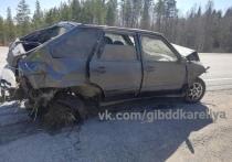 ВАЗ с молодым водителем зацепил обочину и перевернулся под Пряжей