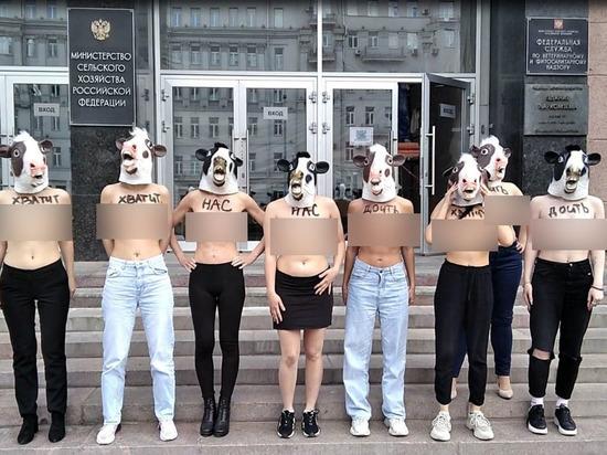Зоозащитницы оголились на акции в защиту коров в Москве