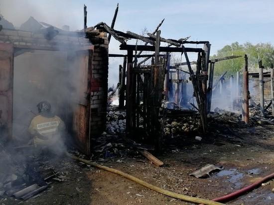 В Рыбновском районе сгорели гараж и четыре сарая