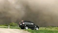 В Алтайском крае пыльная буря останавливала машины на трассе: видео