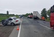 В Челябинской области водитель легкового автомобиля въехал в фуру и погиб