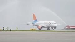 Первый рейс из Минвод в Белгороде встретили с водяной аркой и тортом