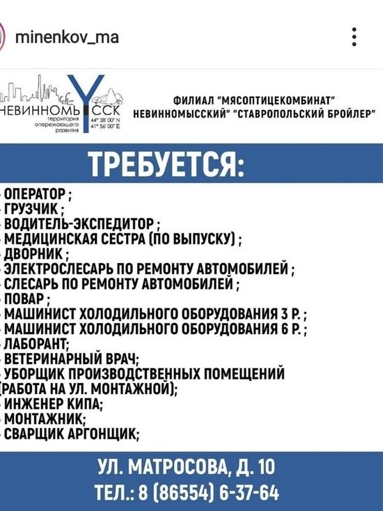 Мэр Невинномысска публикует в соцсетях информацию по вакансиям