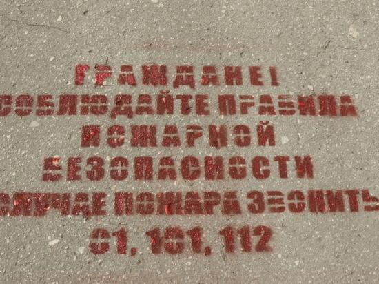 В Туле о соблюдении правил пожарной безопасности написали на асфальте