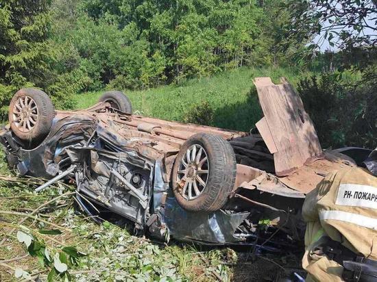 Водитель погиб в Удмуртии, опрокинувшись на машине в кювет