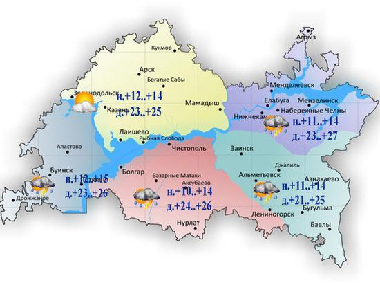Грозы с порывистым ветром и град ожидаются в Татарстане 11 июня