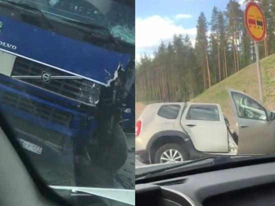 «Скандинавия» встала в длинной пробке из-за ДТП с фурой