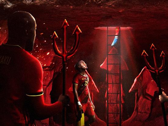 На картинке демоны в футболках бельгийской команды лезут из-под земли