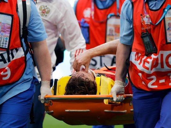 Марио Фернандес получил травму и покинул поле на носилках в матче с финнами