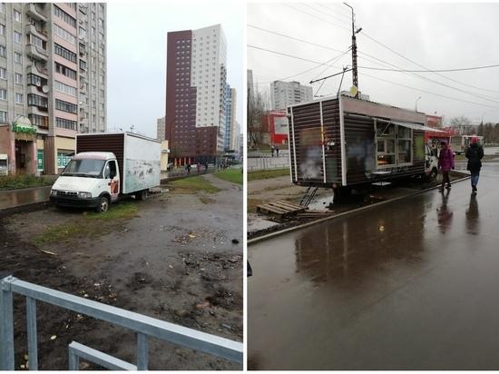Незаконный ларек-фургон убрали с улицы Петрозаводска