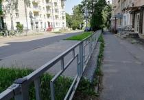 В Петрозаводске забором от пешеходов оградили газон