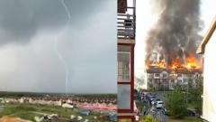Попавшая молния спалила многоквартирный дом под Челябинском: видео