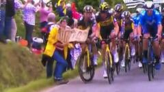 """Фанатка с плакатом стала причиной массового завала гонщиков на """"Тур де Франс"""""""