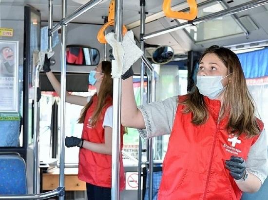 Волонтеры помогли обработать общественный транспорт Барнаула