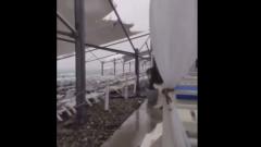Туристов в Сочи сдул с пляжей ураган: кадры дикого ветра