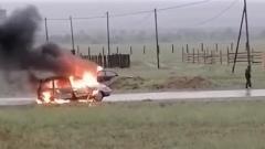 В Бурятии на дороге сгорел автомобиль
