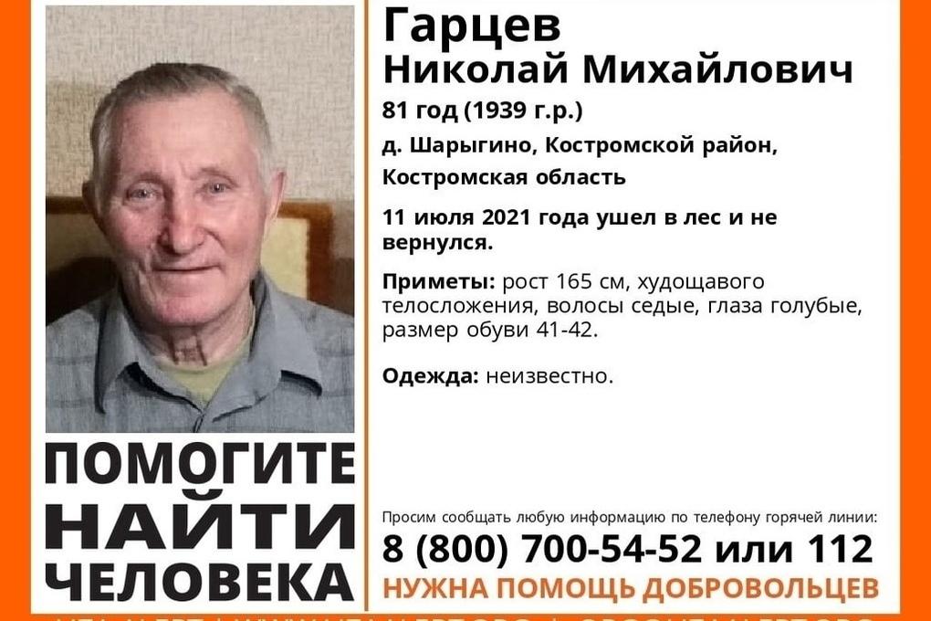 Спасатели просят помощи в поисках 82-летнего жителя Костромского района
