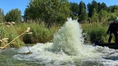 На пруду в деревне Груманты Щекинского района водолазы ищут причины порыва