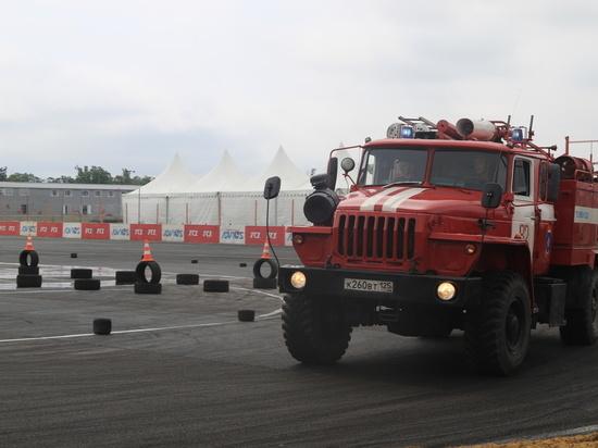 В Приморье завершились соревнования по скоростному маневрированию на пожарных автомобилях